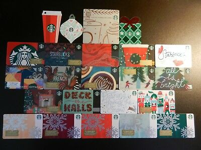 Large Lot Of Twenty-Three (23) Different Collectible Only *starbucks* Gift Cards