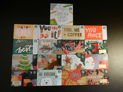 Lot Of Seventeen (17) All Different *starbucks* Gift Cards