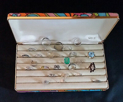 Sterling Silver Ring Lot 925 49.6 Grams + Costume Rings 1960s Mele Jewelry Box