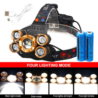 150000LM 5-led Zoom LED USB Rechargeable 18650 Headlamp Head Light Torch Charger