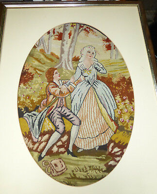 Antique Handmade TAPESTRY French MOTIF Romantic WOODS Needlepoint