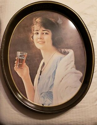 """Vintage 15"""" x 12"""" Coca-Cola Oval Serving Tray Lady drinking Coke Brown Tin"""