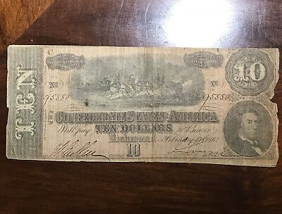 1864 $10 US Confederate States of America! Low Grade Old US CIVIL WAR Currency