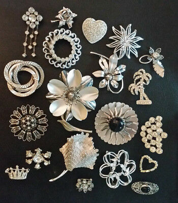 VTG Brooch Lot Rhinestone Silver Plated Flower Pendant Pin 20pcs Sgnd S Coventry