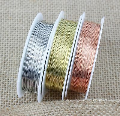 Silver/Gold/Copper Jewellery Jewelry Craft Plated Beading Wire Cord 0.2mm - 1mm