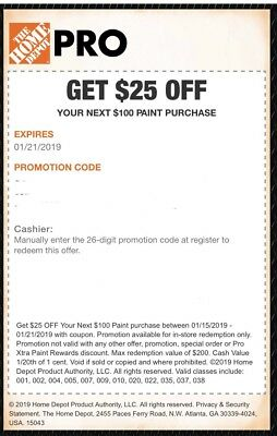 Home Depot Coupon - $25 Off $100 + Purchase Of Paints - In Store Only 1/17-1/21