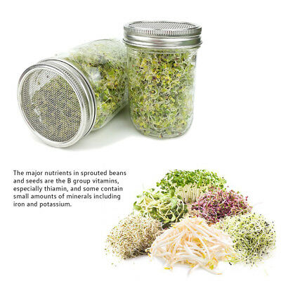 2 Stainless Steel Sprouting Strainer for Mason Jars Lids with Removable Mesh Kit