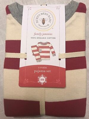 NEW Burts Bees Baby Organic Cotton Rugby Stripe Pajamas Cranberry 18 Mo