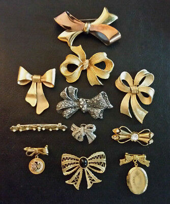 VTG Rhinestone Brooch Lot BOW Pins Gold Silver Copper Plated Lucite 11pcs Signed