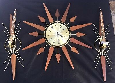 VINTAGE STARBURST CLOCK SEARS & ROEBUCK 7557,  RETRO CLOCK, Candle Wall Sconces