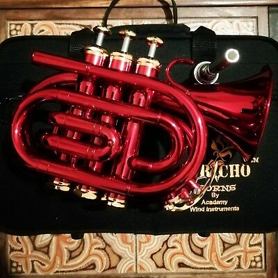Jericho Red Bb Pocket Trumpet With Case and Mouthpiece