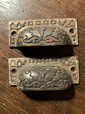 2 Antique Arts +Crafts Victorian Cast Iron Bin Pulls Cup Handles Apothecary
