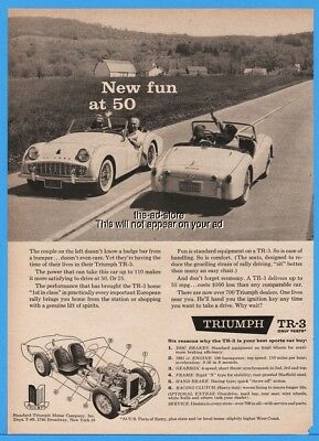 1959 Standard Triumph Motor Co NY TR 3 TR3 Convertible Roadster New Fun at 50 Ad