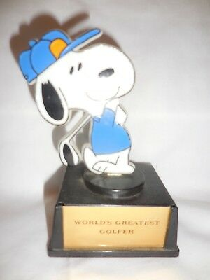 Vintage 2 Peanuts Snoopy Aviva Golf & Bowling Trophies Set of Two