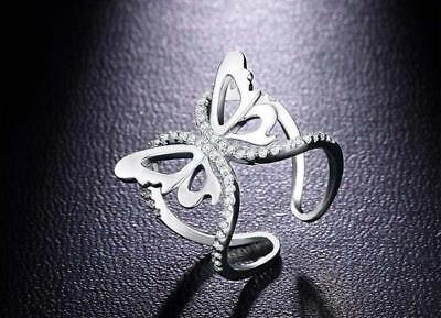 Adjustable Women Wedding White Sapphire Gemstone Silver Jewelry Butterfly Ring