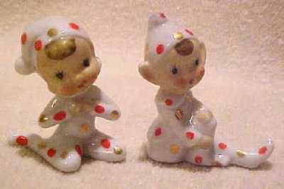 Pair Japan ELF PIXIE With Red and Gold Polka Dots Figurines