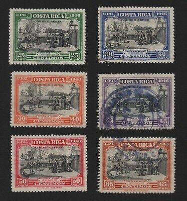 Costa Rica Air Mail Stamps, C148-C153 1947 Set Of 6 Used F/vf Free Usa Shipping