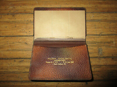 Vintage Hillman-Young Dental Laboratory Rock Island, IL Leather Cover Notepad