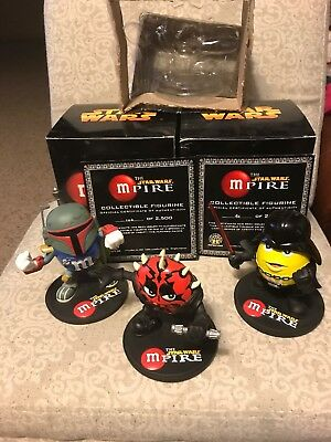 2005 M&M Star Wars MPIRE Darth Vader Darth Maul Boba Fett Set Of 3 Statues RARE
