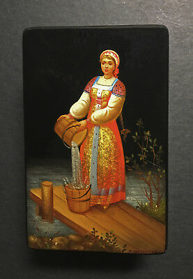 "BEAUTIFUL Vintage Hand-Painted Russian ""Fedoskino"" Mother-of-Pearl Lacquer Box"
