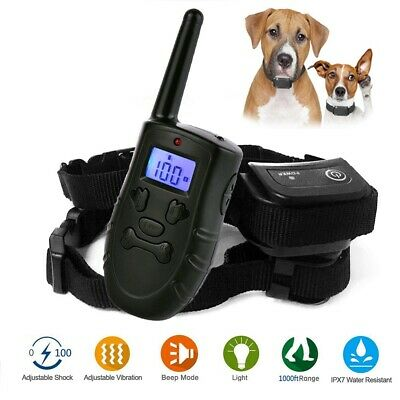 300m Waterproof LCD Pet Training Shock Collar Rechargeable For 1/2 S M L Dogs US