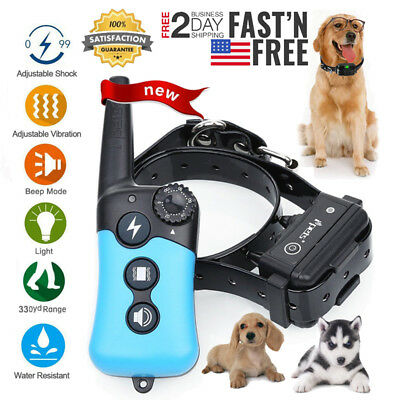 Waterproof Pet Trainer 330 Yard Dog Training Shock Collar Rechargeable Remote US