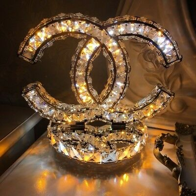 Double C crystal led table lamp luxury shop deco style item rare. like Chanel