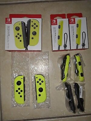 Nintendo Switch Joy-Con Wireless Controllers    Neon Yellow with Straps (Read)