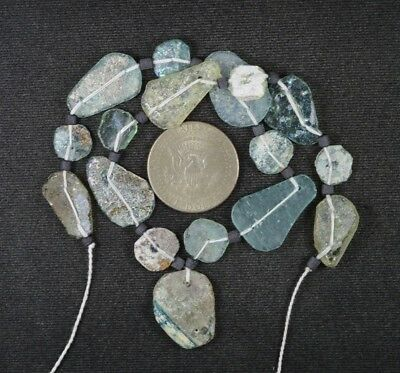 Ancient Roman Glass Beads 1 Medium Strand Aqua And Green 100 -200 Bc 987