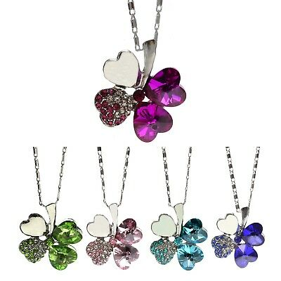 Fashion Women Jewelry Lucky Four Leaf Clover Crystal Chain Necklace Pendant Gift