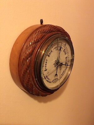 Antique-Marine-Ships Barometer-Blonde Oak,in The Round-Carved Rope-Ceramic Dial.