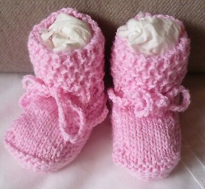 "Baby Booties, ""extra Fine Italian Merino"". Hand-Knitted By Myself. Pink"
