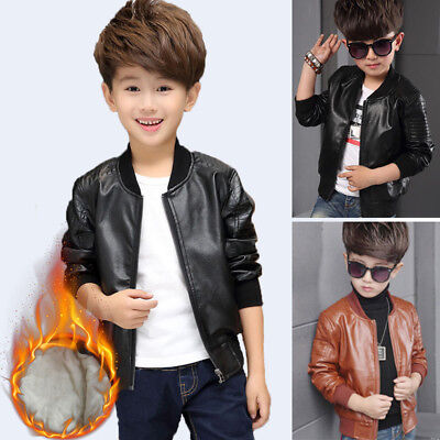New Toddler Kids Boys Leather Jackets Slim Motorcycle Leather Biker