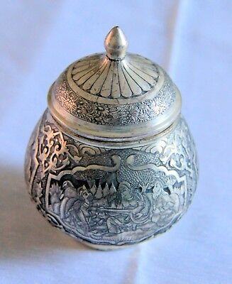 Beautiful antique Indian style Niello Silver plate jar