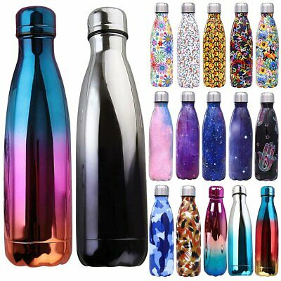 Colourful Water Bottle Vacuum Insulated Stainless Steel Thermal Sport Outdoor