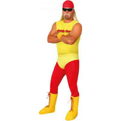 Hulk Hogan Wrestler Costume Funny Fancy Dress Mens Womens Adult Party Halloween