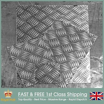 Aluminium 5 Bar Chequer Tread Plate 1.5mm, 2mm & 3mm Thickness Guillotine Cut