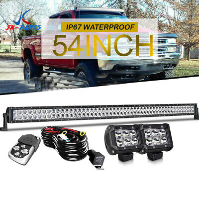 "Curved 54"" Inch LED Light Bar 6272W 2-Rows Combo Work Driving 50"" 52"""