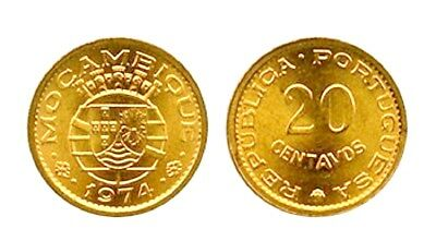 Fifty (50) Mozambique 20 Centavos Coins 1974 , KM 88 , Bronze,Uncirculated Lot