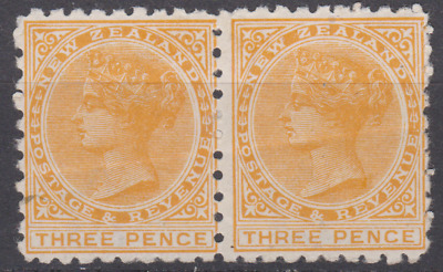 New Zealand 1891 Mint Mounted 3d Pale Orange Yellow ADVERTS SG221 ?  PAIR