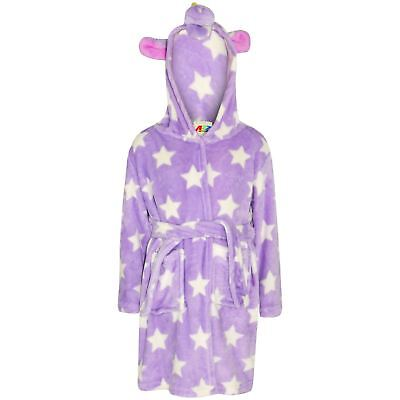 Kids Girls Bathrobe 3D Animal Unicorn Lilac Star Fleece Dressing Gown Loungewear