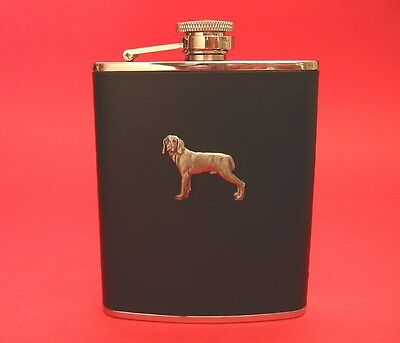 Weimaraner Dog 6oz Black Leather Hip Flask Boxed Pet Father's Christmas Gift NEW