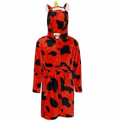 Kids Girls Bathrobe 3D Animal Red Cow Fleece Dressing Gown Nightwear Lounge Wear