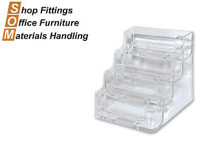 4 Tier Acrylic Plastic Display Business Card Holder Stand