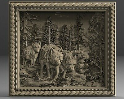 3D STL Model # WOLVES IN THE FOREST # for CNC Aspire Artcam 3D Printer 3D MAX