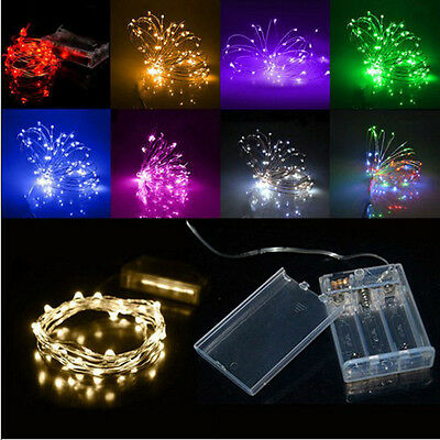 Xmas 2M 20 LEDs Battery Operated Mini LED Copper Wire String Fairy Lights US