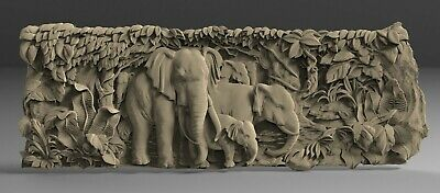STL 3D Models # ELEPHANTS # for CNC 3D Printer Engraver Carving Aspire Artcam