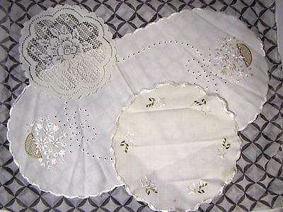 Lot of 3 Vintage Linen Doily Doilies 1 Oval 2 Round Off White