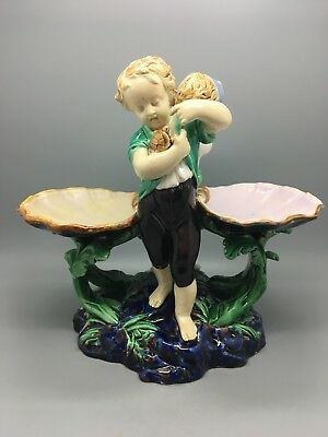 ANTIQUE MINTON MAJOLICA TABLE SALT WITH BOY & GIRL. SHELL DISHES - 19th.Century.