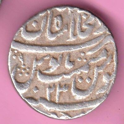 Mughals-Mohammed Shah-Shahjahanabad Mint-One Rupee-Rare Beautiful Silver Coin-52